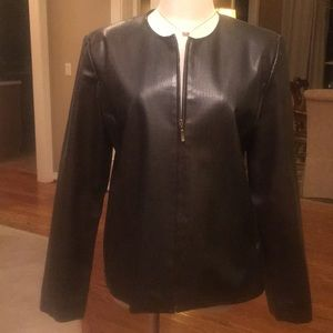 Emma James polyester leather look jacket, sz M